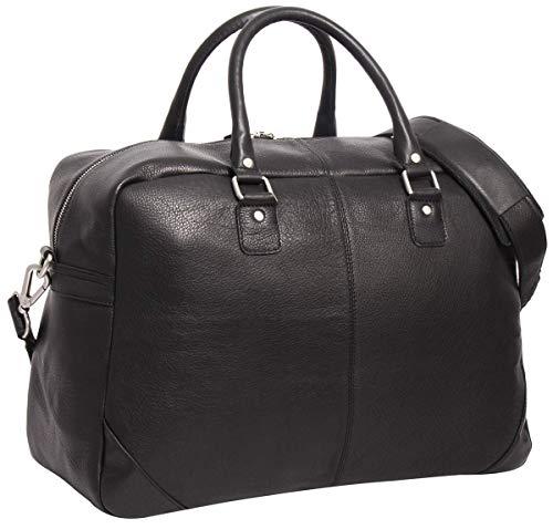 Gusti Leder 'Erland' reistas schoudertas draagtas hengseltas handbagage lederen tas reiskoffer zwart leer
