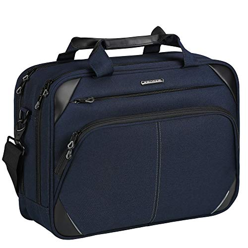 KROSER Laptop Bag 15.6 Inch Laptop Briefcase Water Repellent Computer Case Durable Tablet Sleeve with RFID Pockets for Travel/Business/College/School/Women/Men-Dark Blue