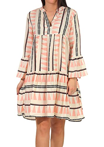 Hailys Damen Viskose Kleid Tunika Lilian mit Allover-Print SN-2007011-4207 Rose Diverse XL