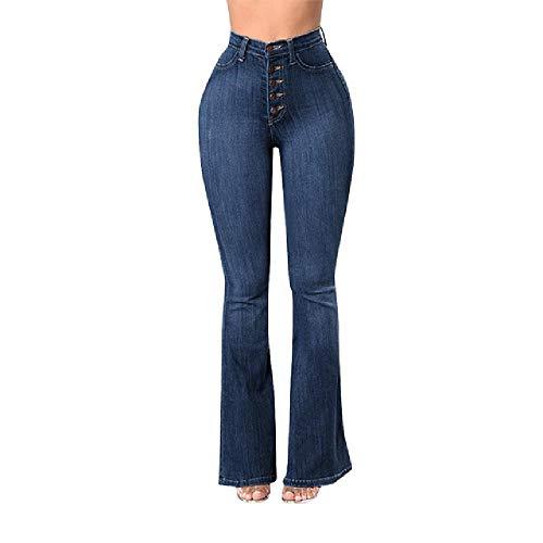 N\P Mujeres Otoño Elástico Más Suelto Denim Bolsillo Botón De Cintura Alta Jeans Bolsillo Botón Casual