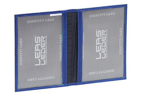LEAS ID-kaartmap- & -hoes met 2 kijkvensters echt leer, lichtblauw Card-Collection