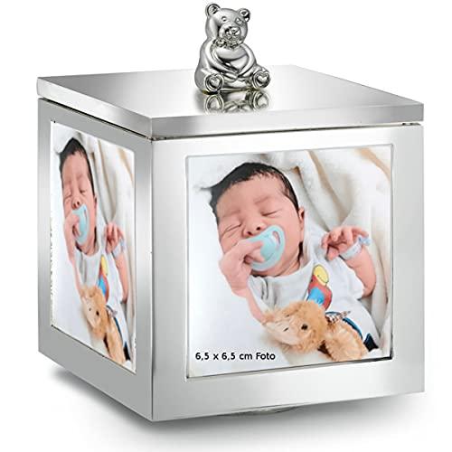 SILBERKANNE Joyero con forma de oso con caja de música y marco de fotos (11 cm de altura, chapado en plata), listo para regalar con elegante paquete de regalo