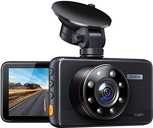 Apeman Full HD 1080P Dashboard Car Camera Video Recorder with 170 Degree Wide Angle, Motion Detection, WDR, Park, 3 inch LCD Screen Monitor, Loop Recording, Night Vision & G-sensor