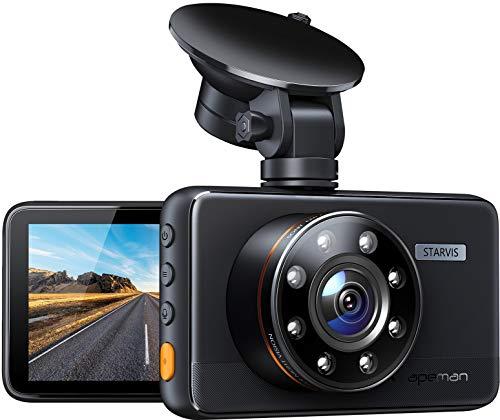 [Neu-aktualisiert] APEMAN Dashcam mit 8 IR-Leuchten, Unterstützung GPS, 1080P FHD Autokamera, 3 Zoll IPS-Bildschirm, Superior Nachtsicht, Loop-Aufnahm, G-Sensor, 170° Weitwinkel, WDR, Parküberwachung