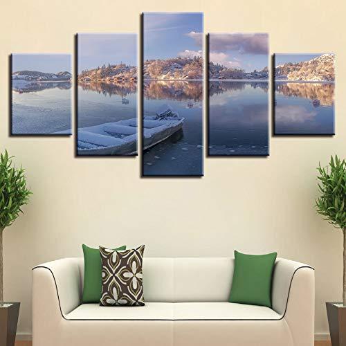 MMLFY 5 canvasfoto's canvas poster wooncultuur 5 stuks winter sneeuw zee boten wolken schilderij modulaire HD print Noorwegen natuur afbeeldingen muurkunst