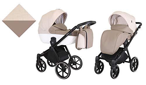 KUNERT Kinderwagen TALISMAN Sportwagen Babywagen Autositz Babyschale Komplettset Kinder Wagen Set 2 in 1 (Braun mit Creme, Rahmenfarbe: Schwarz, 2in1)