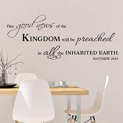Matthew 24:14 Wandtattoo / Wandaufkleber, Schriftzug 'This Good News of the Kingdom', Bibelvers, Vinyl, 35,6 x 88,9 cm