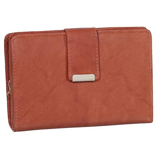 RFID Damen Leder Geldbörse Damen Portemonnaie Damen Geldbeutel - Farbe Chianti-Rust - Geschenkset + exklusiven Ledershop24 Schlüsselanhänger