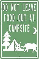 スタジオはキャンプに食べ物を残さないでください12x8」面白い錫マークのキャンプをテーマにした小屋の装飾