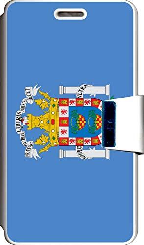 SUPER STICKER Funda Libro para Samsung Alpha Cover Flip Blanco, con Dibujo, Bandera Melilla