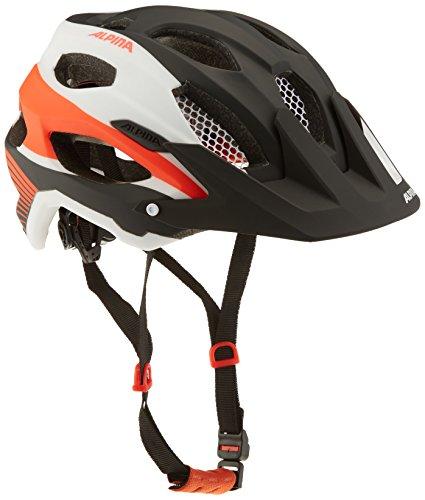 ALPINA CARAPAX Fahrradhelm, Unisex– Erwachsene, black-white-neon-red, 57-62