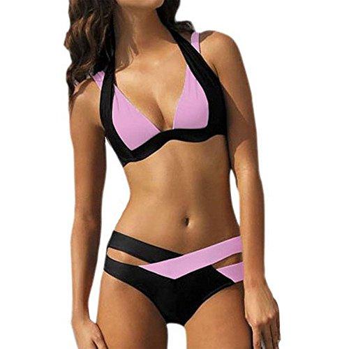 LANSKIRT_Bikinis Bañador Tanga 2019 Traje De BañO Dividido Encaje Bikini De Playa Trajes BañO 2019 Dos Piezas sexy Conjunto para XXL Rosado