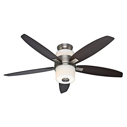 "Hunter 59010 Domino 52"" Antique Pewter Ceiling Fan with Five Maple/Rosewood Blades & Light Kit"