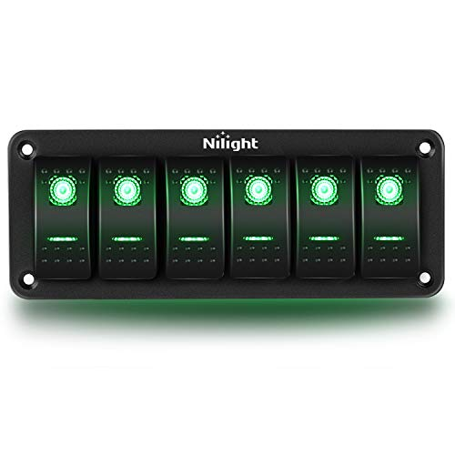 Nilight 6 Gang Rocker Switch Panel 5Pin On Off Toggle Switch Aluminum Holder 12V 24V Dash Pre-Wired Green Backlit Switches for Automotive Cars Marine Boats RVs Truck, 2 Years Warranty