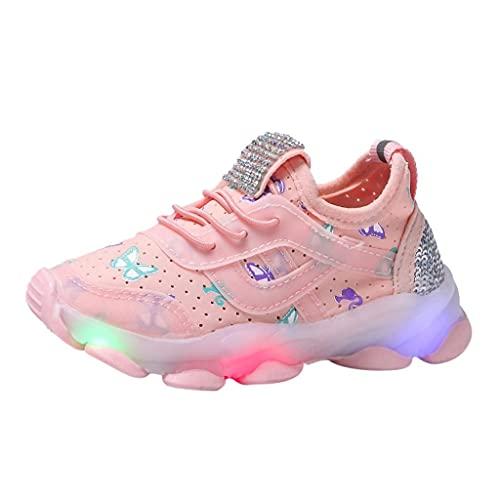 Zapatillas de deporte LED para niños y niñas, zapatillas luminosas para niños, zapatillas de malla, brillantes, mariposas, para exteriores y niños, con cordones, para el tiempo libre, Rosa., 26