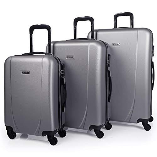 ITACA - Juego de Maletas de Viaje Rígidas 4 Ruedas Trolley 55/65/75 cm ABS. Buenas Cómodas y Ligeras. Candado. Grande Mediana y Pequeña Cabina Ryanair. 71100, Color Plata