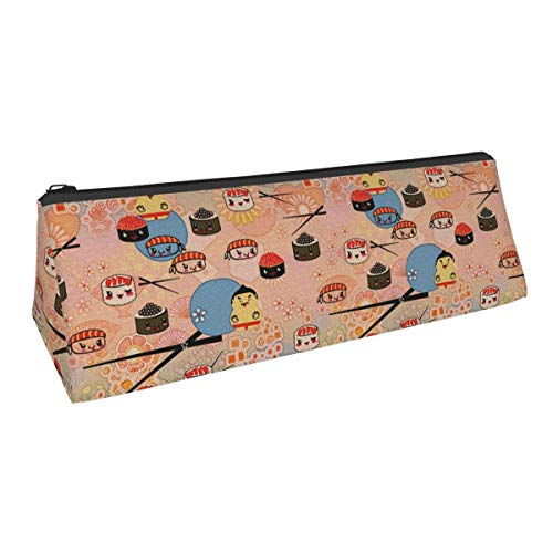 Japanese Sumo Sushi Kaii Cute Style Themed Printed Triangle Pen Pencil Bag Pencil Case Makeup Bag Storage Bag B Cosmetic Purse Zipper Pouch Students Office Artist Accories