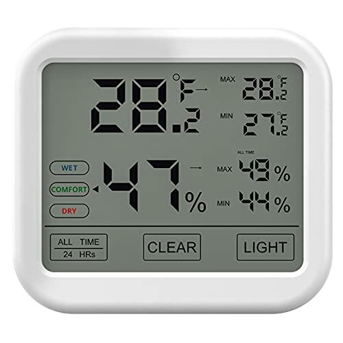 Termómetro Higrómetro Digital, VOLUEX Termohigrómetro para Interior, Pantalla Táctil, LCD Monitor, Temperatura y Humedad Valor, Mínimo y Máximo para Interior o Exterior del Casa Ambiente