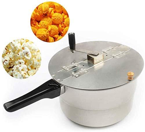 Alqn Popcorn Maker Herd Pop Popcorn Popper Hand rühren Kurbelkocher Kessel Popcorn Popper Holz