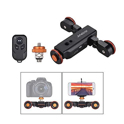 Andoer Kamerawagen L4 PRO Video Kamera Slider Dolly Automatische mit Drahtlose Fernbedienung,1800mAh Akku 3 Geschwindigkeit einstellbar Mini Slider Skater für Canon Nikon DSLR-Kamera iOS Android