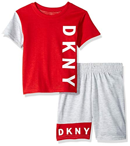 DKNY Boys' Little Sleeve T-Shirt and Short Sleepwear Set, Red/Heather Grey, 4