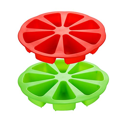 Silicone Baking Molds, Extra Large 8 Cavity Silicone Scone Pan/Cakes Slices Mold/Triangle Cavity Cake Pan/Portion Control Pizza Slices Pan,for Cornbread Brownies Muffins And Soap Mould (red/green)