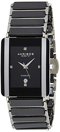 Akribos XXIV Men's AK521 Rectangular Ceramic Quartz Movement Watch Inner Link Bracelet (Silver on Black)