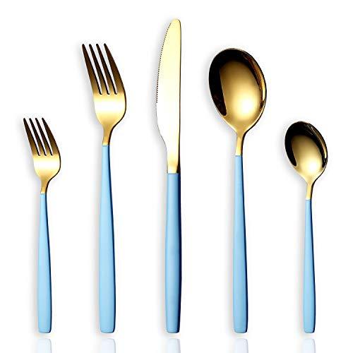 HOMQUEN 30-Stück Edelstahl Besteck Set,Set für 6 Personen, Spiegeln Sie Ende, Spülmaschinenfest (Goldener Löffel und Blauer Griff)