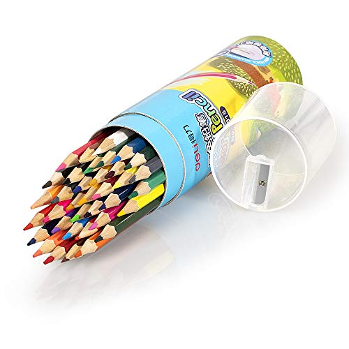 Deli 36 Pack Colored Pencils with Built-in Sharpener in Tube...