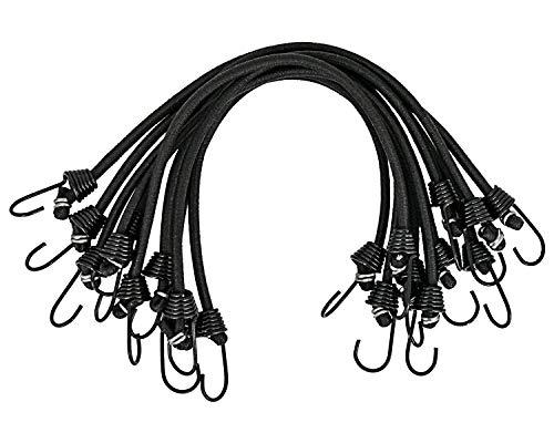 Cuerdas elásticas con ganchos, 10 unidades de mini cuerdas elásticas de amarre para tiendas de campaña, camping, equipaje, almacenamiento de bricolaje multiusos – 25 cm