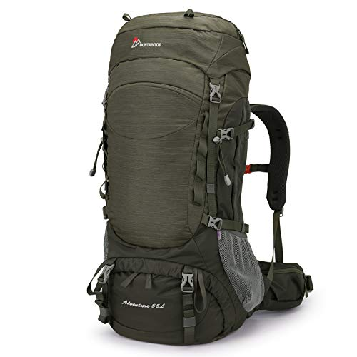 MOUNTAINTOP 55L Hiking Internal Frame Backpack Backpacking for Men with Rain Cover