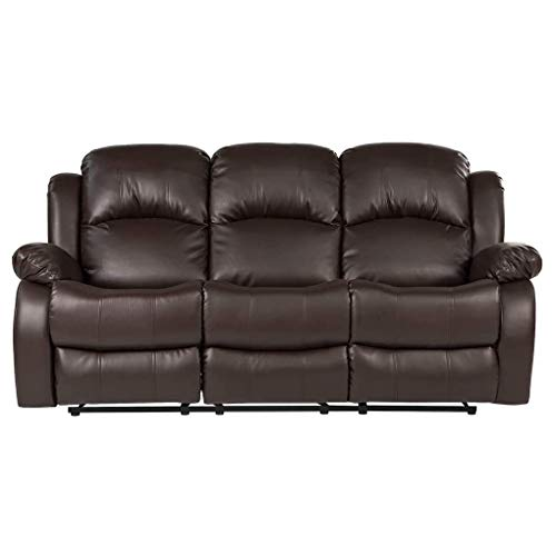 Ainehome Recliner Sofa Living Room Set Reclining Couch Sofa 3 Seater Manual Motion Recliner Home Theater Seating (Bonded Leather, Brown, Sofa)
