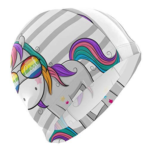 Alinlo - Cuffia Da Nuoto Con Unicorno, Divertente E Colorata, Impermeabile, Per Adulti, Uomini, Donne, Ragazzi E Ragazze