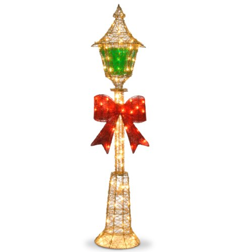 National Tree 60 Inch Gold Wire Lamp Post with Red Bow and 85 Clear Outdoor Lights (MZLP-60BL)