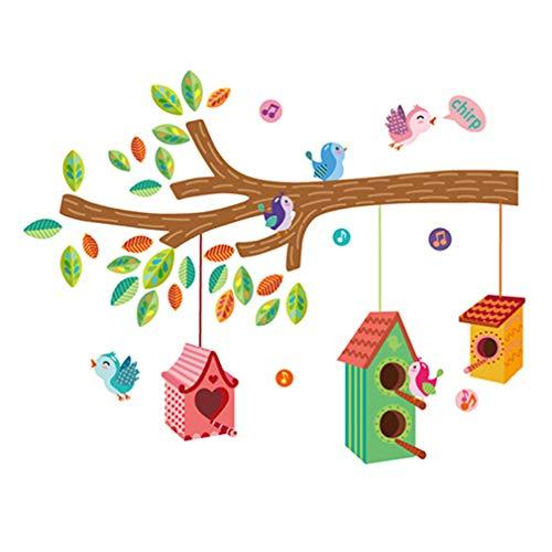 La forme d'arbre avec des cages et des oiseaux Autocollant mural de PVC à la maison papier peint en vinyle pour la décoration papier peint au salon, à la chambre et à la cuisine les photos d'art DIY à la salle de jeux pour des enfants