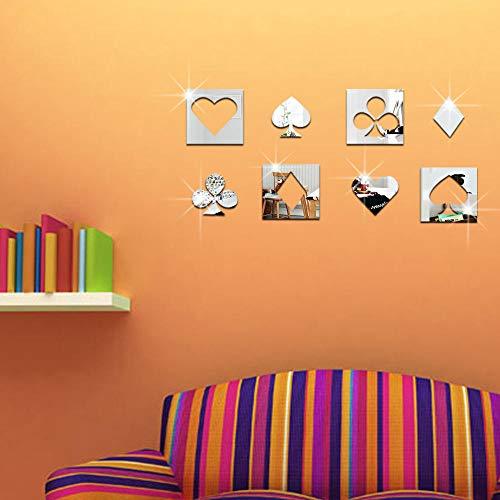 etiqueta la pared fondo pantalla pared - Poker Flower cara hogar decorativo acrílico pegatinas de pared-Plata