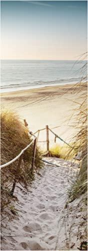 wandmotiv24 Türtapete Weg zum Strand, Seil, Meer, Düne, Schilf 70 x 200cm (B x H) - Papier Sticker für Türen, Tür-Bilder, Aufkleber, Deko Wohnung modern M1301