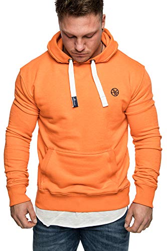 Amaci&Sons Herren Basic Logo Kapuzenpullover Sweatjacke Pullover Hoodie Sweatshirt 1-04028 Orange M