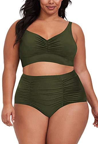 Kisscynest Women's Plus Size High Waist Swimsuit V Neck Ruched Bathing Suits Swimwear Army Green 2XL