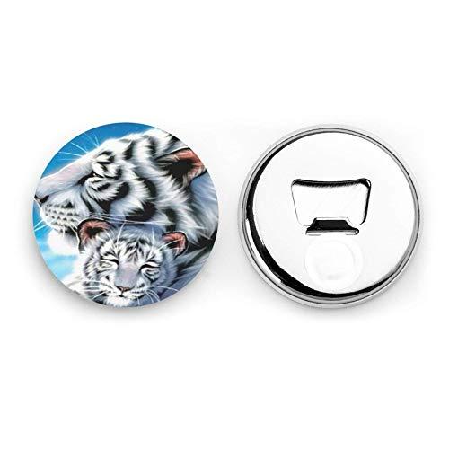 Tigre bianca fatta a mano Madre Bambino Magneti da frigorifero Apribottiglie da birra Bottiglia di coca cola Vino Soda Apribottiglie Magnete da cucina Apribottiglie Magnetico 2 pezzi