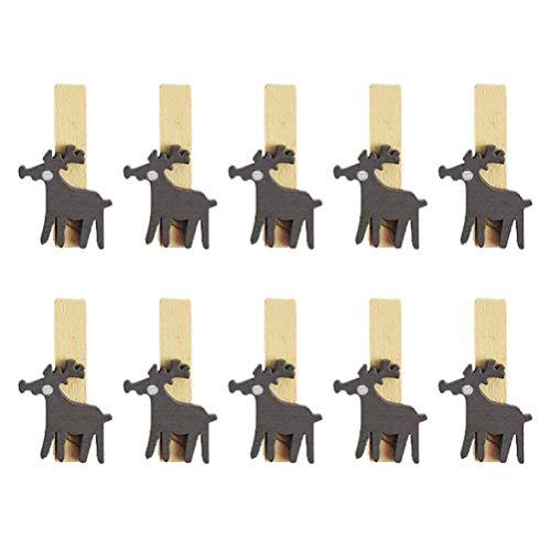 VALICLUD 30 Stück Weihnachts-Holzklammern mit Elch-Muster, Foto-Karten-Halter für Weihnachten, Heimdekoration