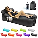 Inflatable Loungers Air Sofa,Inflatable Couches and Sofas Anti-Air Leaking Pouch Couch for Outdoor,Backyard,Parties,Beach,Travel,Camping,Self Inflating Lounger with Pillow and Carrying Bag(Black)
