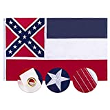 FLAGBURG Mississippi State Flag 3x5 FT, MS State Flag 5x3 Foot, The Magnolia State Flag with Embroidered Star, Outdoor Indoor All Weather 210D Nylon Flag with Strong Canvas Header/Brass Grommets
