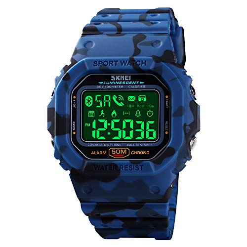 SKMEI Digital Watch for Men, Waterproof Military Wrist Watches with Pedometer Calorie Chronograph Call SMS Reminder LED Backlight Running Sport Watches for Men (Camouflage Blue)