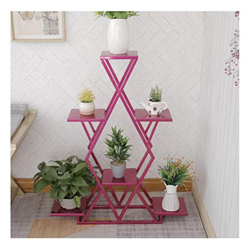 Flower Stand Iron Metal Plant Stellingen Bloempot opslag plat scherm met een hoge temperatuur bakken Verf for Bedroom Living Room (Color : Rose red)