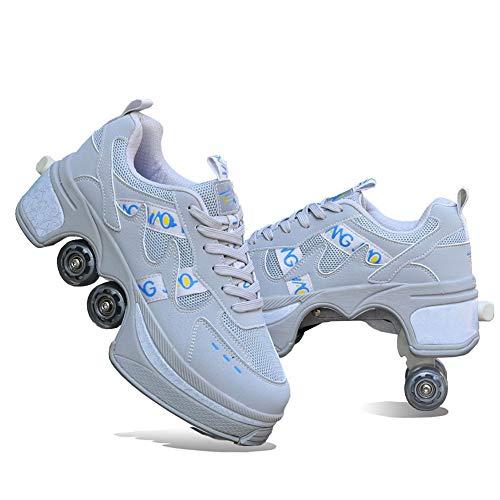 Patines De Ruedas Deformación,2 En 1 Casual Walk Sneakers Patines Cuatro Ruedas, Retráctil Multifuncional Invisible Double Inline Polea Zapatos, para Regalo Unisex Principiantes,Gris,38