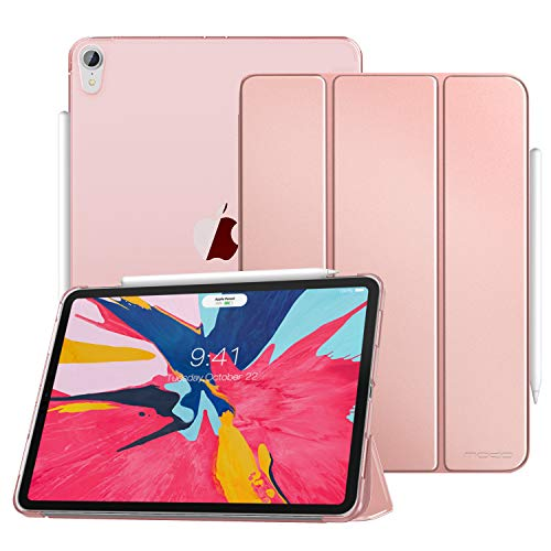 MoKo Case Fit iPad Pro 12.9' 2018 - Translucent Frosted Back Protector Smart Shell Stand Cover with Pencil's Magnetic Attachment Side Opening Fit iPad Pro 12.9 2018 - Rose Gold(Auto Wake/Sleep)