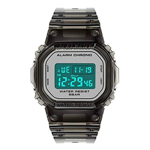 AYDQC Calendario del Reloj Impermeable Coreana versión Multifuncional Electronic Sports Manera del Reloj de los nuevos Hombres del Reloj electrónico fengong (Color : Transparent All Black)