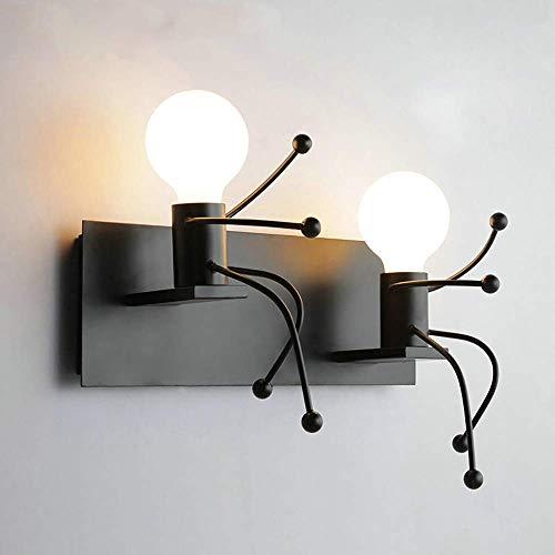 Lámpara de pared de estilo retro americano de 180 grados; Rotación E27, Lámpara de pared de personalidad creativa, Hierro forjado de dos asientos, Luz de noche para sala de estar/pasillo/dormitor