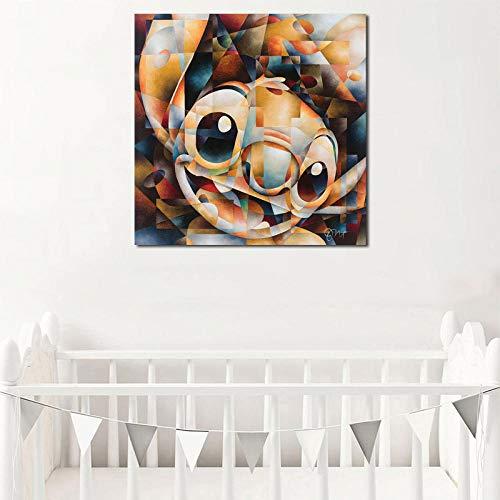 WJY Lilo y Stitch Wall Art Canvas Posters Impresiones Pintura Cuadros de Pared para Dormitorio Nursery Modern Home Decor Accessories Artwork 60cm x60cm No Frame